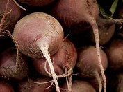 Red beets for sale at a farmer´s market.