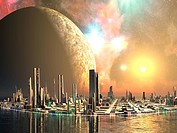 Perfect futuristic cities built in the tranquil seas on an alien world. In orbit behind lies a huge moon basking in the golden light of the sun and st...