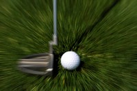 Golf, club and golf ball at putting