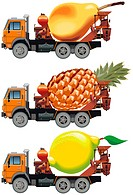 Vector fruit_trucks set