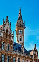 Neo_Gothic Architecture _ PostPlaza, Ghent Gent, Belgium. Old postoffice Postgebouw, build in 1903, with the neo_Gothic style of the neighboring histo...