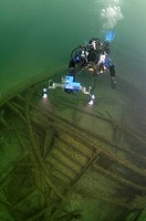 Diver at the shipwreck of the Austrian steamship Durnstein, Odessa, Black Sea, Ukraine, Eastern Europe