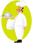 Vector illustration of professional chef serving delicious meal.YOU CAN PLACE YOUR TEXT,LOGO ONTO TOWEL