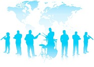 Musical Band on World BackgroundOriginal Vector Illustration Musical Band Ideal for Live Music Concept