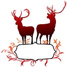 Deer with abstract frame backgroundOriginal Vector Illustration