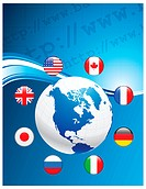 Globe with Internet Flag Buttons BackgroundOriginal Vector Illustration
