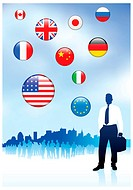 Businessman Traveler with Skyline and Internet Flag ButtonsOriginal Vector Illustration
