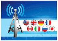 Business Background with Internet Flag ButtonsOriginal Vector Illustration