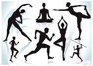 Exercises silhouettes with shadow background, vector illustration layers file.