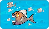Vector illustration of some piranhas attacking