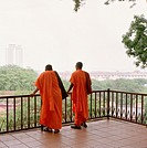 Two Buddhist monks on St Paul's Hill, Melaka, Malaysia