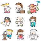 Illustrations of various careers.