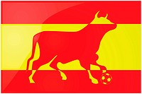 Illustration of a yellow and red bull stepping on a soccer ball in front of the Spanish flag.
