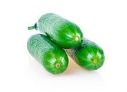 Three Ripe Green Cucumbers Isolated on White Background