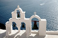 Seaside Bell Tower next to a Greek Orthodox Church, Santorini, Greece Greek Islands