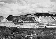 View of the Main Plaza of the Zapotec ruins at Monte Alban, Oaxaca, Mexico. Photograph, mid 20th century.