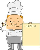 Illustration of a Chef Holding a Menu_ eps8