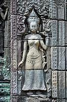 Apsara Tempeltaenzerin Relief in der Tempelanlage Angkor Wat, Kambodscha, Asien