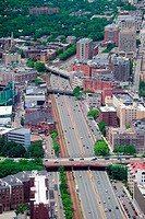 Boston city aerial view with urban buildings.