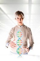 Female scientist with holographic genome