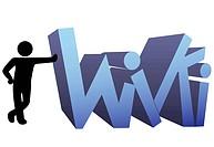 A symbol person leans on a wiki icon design.
