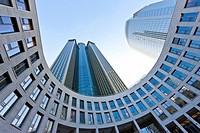 Forecourt of the Tower 185, Gallus Europaviertel district, Frankfurt am Main, Hesse, Germany, Europe