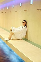 Young woman relaxing at a spa