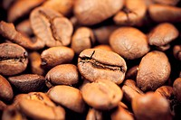 brown coffee beans, background and texture