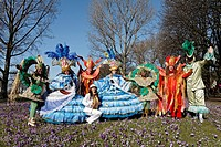 Dance group with imaginative costumes, group photo, Rosenmontagszug Carnival Parade 2011, Duesseldorf, North Rhine_Westphalia, Germany, Europe