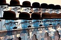 Heads as decoration for opticians at the Euro Shop 2011 trade fair for shopfitting, furnishing, visual advertising, merchandising, exhibition stand co...