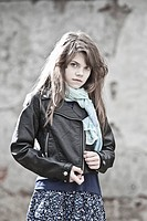 Germany, Bavaria, Girl in black jacket, portrait