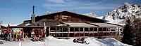 Piz La Ila Moritzino, a Cafe, restaurant and mountain lodge, Piz La Ila mountain, 2078m, Abtei, Badia, Gadertal valley, Fanes-Sennes-Prags Nature Park...