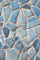 Mosaic from blue broken tiles