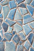 Mosaic from blue broken tiles