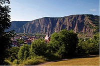 View from Ebernburg to Bad Muenster am Stein-Ebernburg, Rotenfels, Rhineland-Palatinate, Germany, Europe