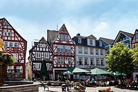 Marketplace of Hachenburg, Westerwald, Rhineland-Palatinate, Germany, Europe