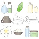 Set of spa icons. Drawn in Illustrator with charcoal brush to make it look like traditional pastel drawing.