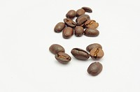 a few of coffee beans, isolated on white.