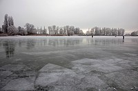 Frozen Lake Constance with people between Reichenau island and Hegne, Lake Constance, Baden-Wuerttemberg, Germany, Europe