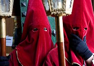 Two penitents in a holy week procession in Baeza, Jaén, Spain, Europe