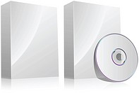 Blank software box with and without disc isolated on white.