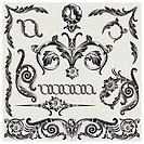Set Of Classic Floral Stucco Elements, editable vector illustration