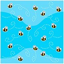 A seamless repeating cartoon pattern with bees.