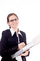 A young business woman with a file and