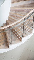 Curving wooden staircase