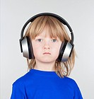 boy, Caucasian, child, earphones, face, hair, head, headphones, isolated, listen, listening, long, mp3, music, people, person, phones, portrait, sound...