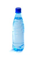 Bottle with water and a dark blue stopper on a white background.