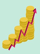 A graphic showing growing money, vector illustration