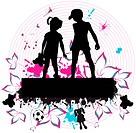 Couple children _ grunge background