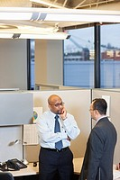 Businessmen working together in office cubicle